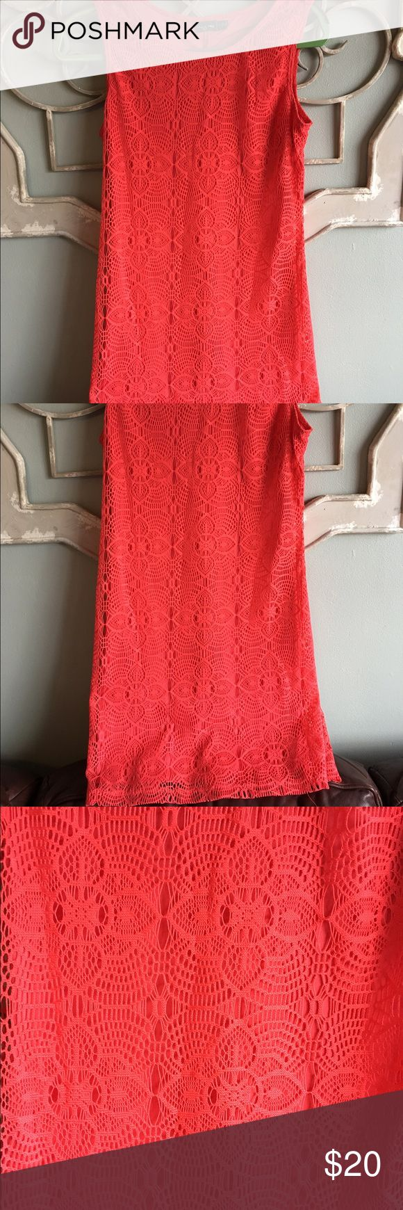 "🌟2 for $15🌟 Coral crochet dress Gently used, only worn a few times. VERY COMFORTABLE! Has nice detail shown in picture.            🌸 100% Polyester 🌸Bust 32"""".🌸Length 32""         ✖️NO TRADES.                                                                    🔹Please ask all questions before purchasing                  🔹Same or next day shipping. Except weekends Dresses"