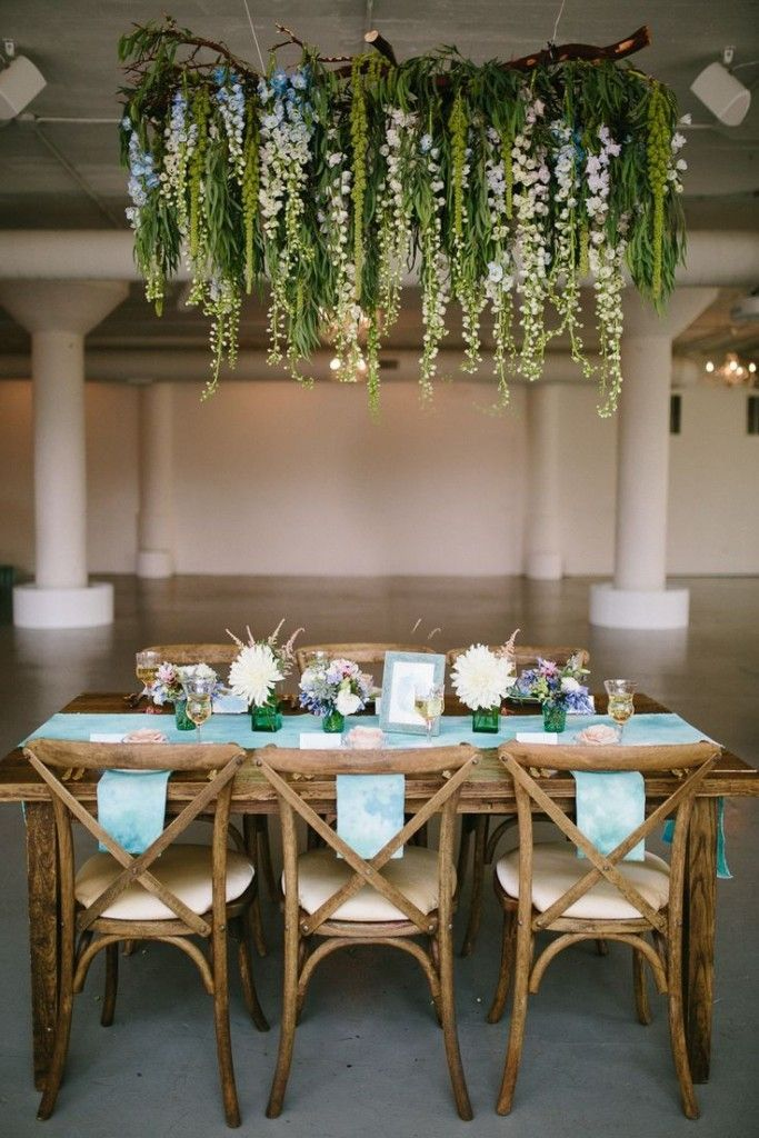 Monet's watercolor wedding inspiration.  Beautiful hanging flowers and stunning #tablescape design from @ashmarielafleur