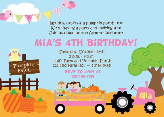 Pumpkin Patch Birthday Party Invitation Farm by TheButterflyPress