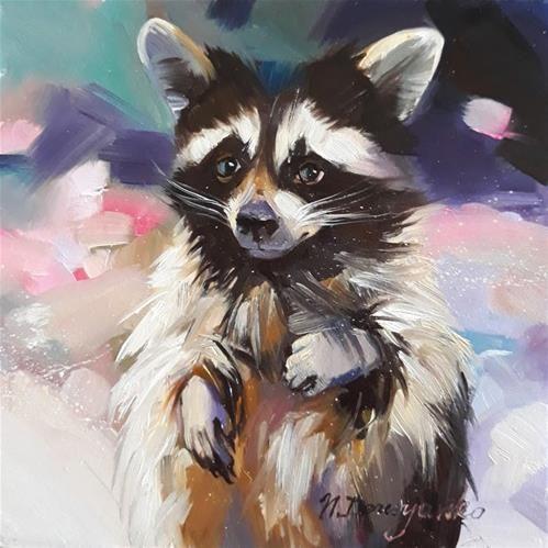 "Daily Paintworks - ""Raccoon"" - Original Fine Art for Sale - © Natali Derevyanko"
