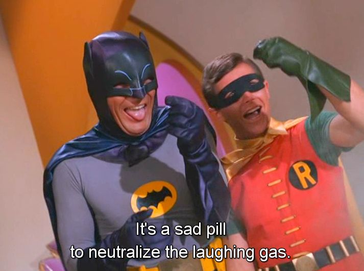 Batman is a 1960s American live action television series, based on the DC comic book character of the same name. It starred Adam West as Batman and Burt Ward as Robin. http://en.wikipedia.org/wiki/Batman_(TV_series) https://www.google.co.uk/search?q=batman+tv+show+60s&biw=1366&bih=622&source=lnms&tbm=isch&sa=X&ei=SP4NVfCfFaSBywPu6IC4BQ&sqi=2&ved=0CAYQ_AUoAQ&dpr=1