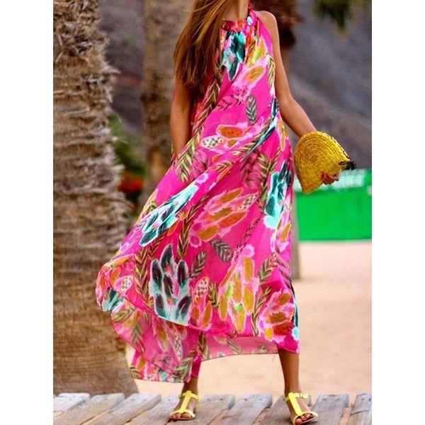 Multi coloured halter neck maxi dress