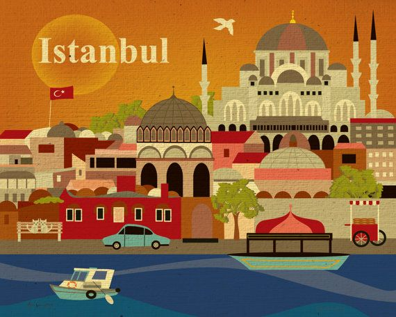 Istanbul, Turkey Skyline - European Destination Travel Wall Art Poster Print for Home, Office, and Nursery - style E8-O-IST