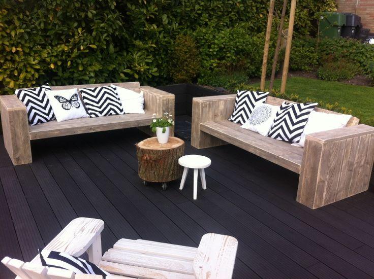 Lounge bank oud steigerhout schuine rugleuning voorraad (5420131953) | Lounge-banken & stoelen | JORG`S Houten Meubelen
