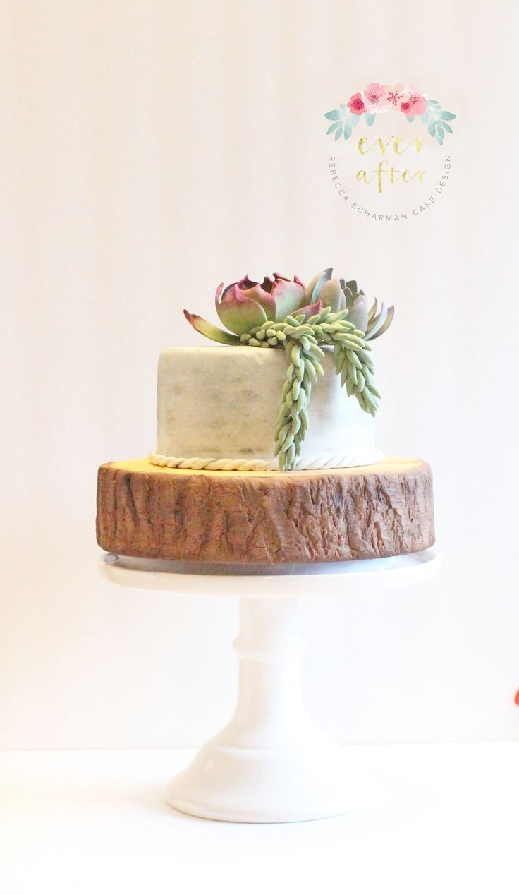 @everaftercake A cake made to celebrate a husband and wife turning 40 and 50. Both loved to work in the garden so I thought that succulents and a wood slab bottom tier combined elements of what they both loved and a touch of masculinity.