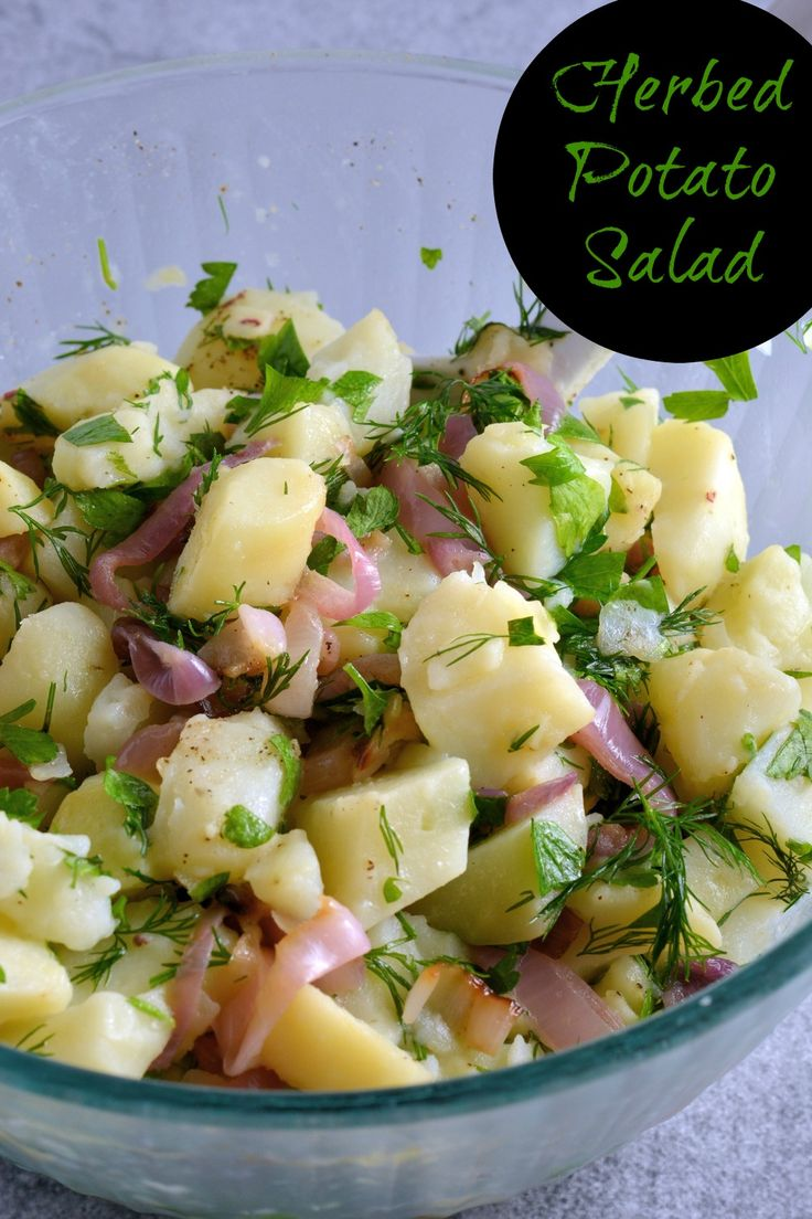 Herbed Potato Salad- One of my favorite potato recipes, this potato salad can be served hot or cold and uses fresh herbs and a potato salad recipe that uses no mayo! This make ahead side dish is perfect for BBQs, potlucks and holidays! www.savoryexperiments.com