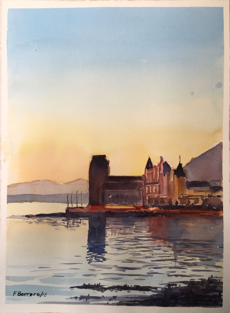 Sunset in Dunbar, Scotland.  Watercolour on paper 28cm x 39cm