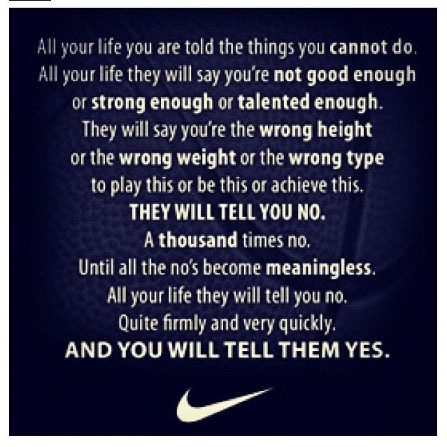 Nike quote perfect for any sport including barrel racing