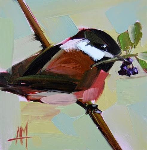 """""""Chickadee no. 565 Painting"""" by Angela Moulton"""