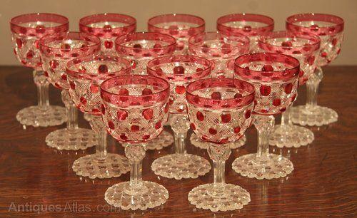 Antiques Atlas - Rare Set Of 14 Cranberry Victorian Wine Glasses