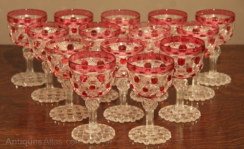 Antiques Atlas - Rare Set Of 14 Cranberry Victorian Wine Glasses
