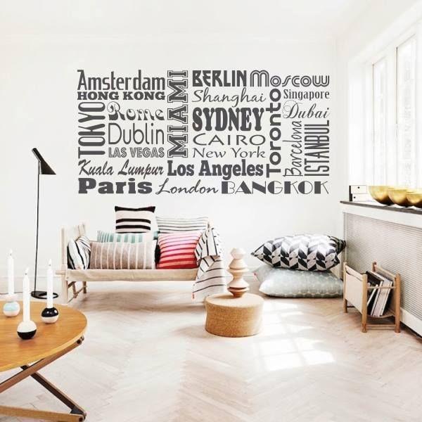 Vinilo decorartativo con collage de ciudades http for Vinilos decorativos textos