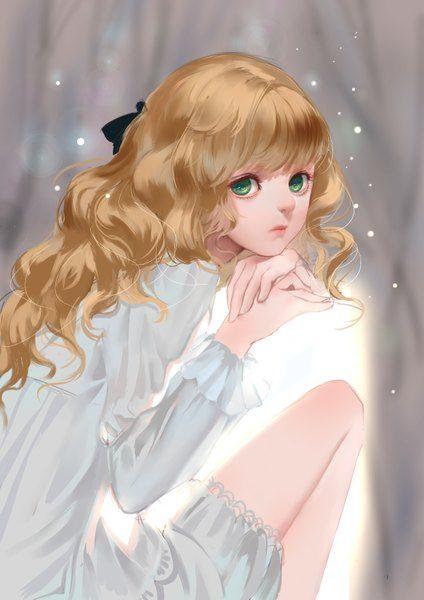 Anime picture 2480x3507 with  original kamachi kamachi-ko long hair single tall image highres blonde hair green eyes sitting looking away lips grey wavy hair arm support blunt bangs girl ribbon (ribbons) hair ribbon chemise