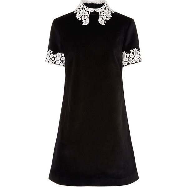 MacGraw Black Velvet Opium Collared Dress (£188) ❤ liked on Polyvore featuring dresses, vestidos, short dresses, floral summer dresses, cut out dresses, short sleeve floral dress and summer dresses