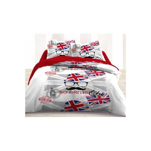 Housse de couette et taies d'oreiller London moustache. Déjà disponible sur La Vallée Des Prix => http://www.lavalleedesprix.com/320-housse-de-couette-et-taies-d-oreiller