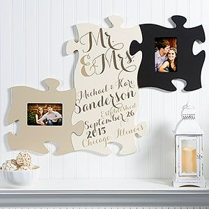 mr mrs wall puzzle piece frame collection you can keep adding as many frame pieces as youd like and you can personalize it