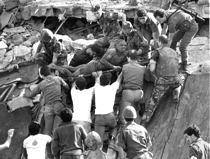 U.S. Marines help survivors of the Beirut Marine Barracks Bombing, October 23, 1983, in the Lebanon Intervention.  http://www.historyguy.com/beirut_marines_bombing_1983.html  http://www.historyguy.com/beirut_marines_bombing_1983.html