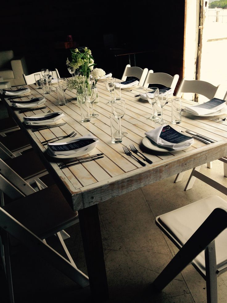Our recycled timber tables compliment the Sugar Wharf perfectly