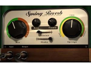 The Softube Spring Reverb is an authentic spring reverb recreation that will add vintage character and grit to any audio track. It also includes novel features such as a fully automatable Shake control that will shake the virtual strings around for those thunderous spring effects, and a Tension control that tightens or loosens the springs to cover a wide range of spring reverb sounds.