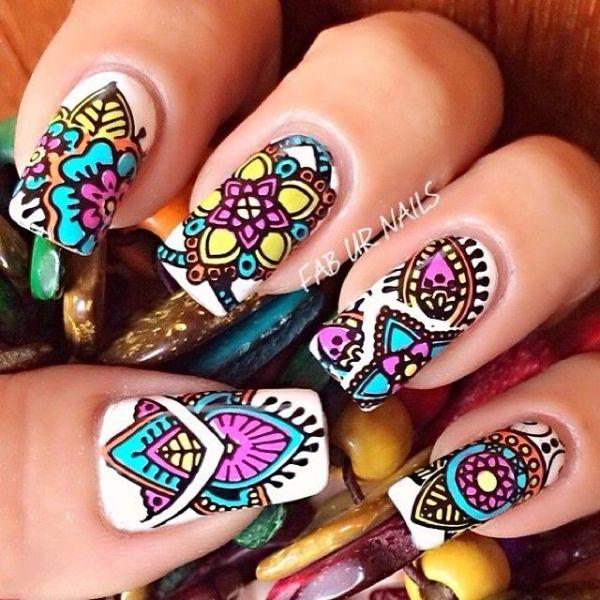 65 Colorful Tribal Nails Make You Look Unique. uñas pintadas faciles