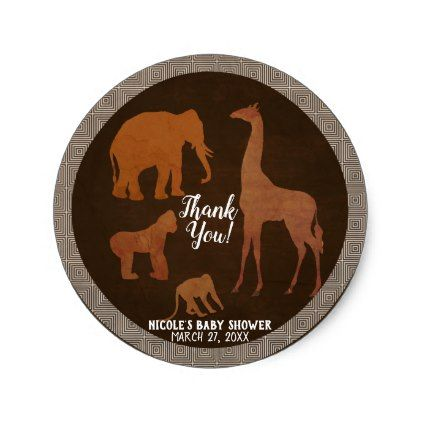 Vintage Brown African Safari Jungle Zoo Favor Classic Round Sticker - bridal party gifts wedding ideas diy custom