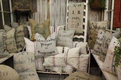 Antique grain sacks as high end textiles.