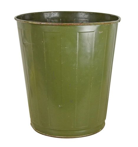 Olive Green Industrial Waste Paper Basket by Witt Circa 1940s G1116