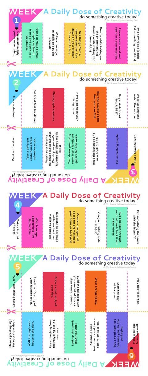 42 Creative Ideas for Families. FREE Printable with simple daily creative activities. Post it on your fridge!