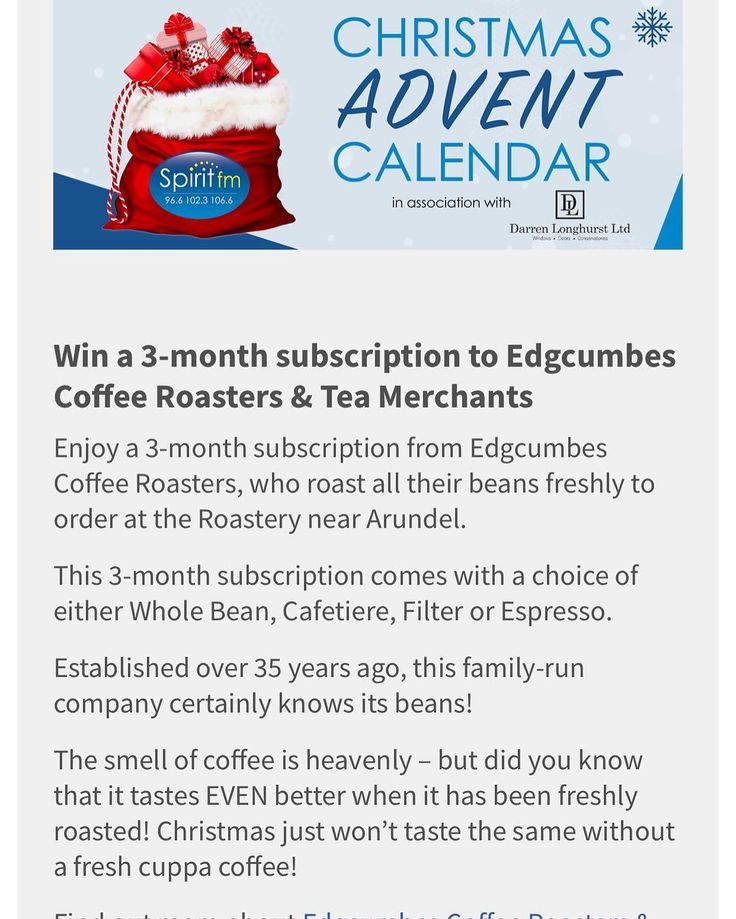 Calling all @spiritfmsussex listeners! Win a 3 month subscription of our coffee today in their Advent Calendar - that's a 250g bag of coffee ground to your choice every 2 weeks!! Youve got until MIDNIGHT - just simply enter online! #spiritfm #adventcalendar #coffeesubscription #specialitycoffee #edgcumbescoffee #edgcumbescoffeeandtea