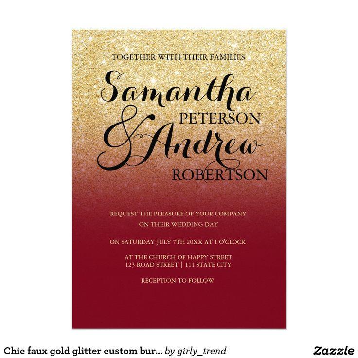 msg for wedding invitation%0A Chic faux gold glitter custom burgundy wedding