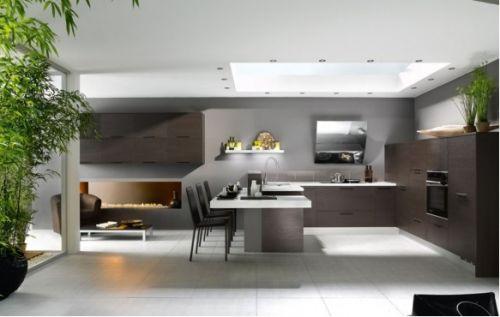 Donkere Keuken Lichte Vloer : keuken in loftstijl. Gebruik van donkere hout kleuren op lichte vloer