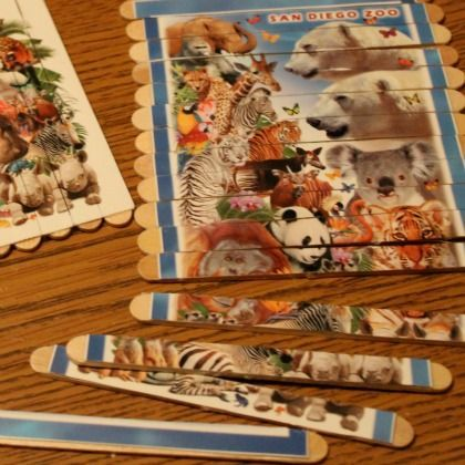 Popsicle Stick Photo Puzzles, mandala drawing, sponge Jenga, I spy coloring sheet with ring of items and more