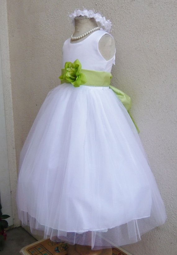 WHITE / Lime Green (picture)/ Flower girl dress more than