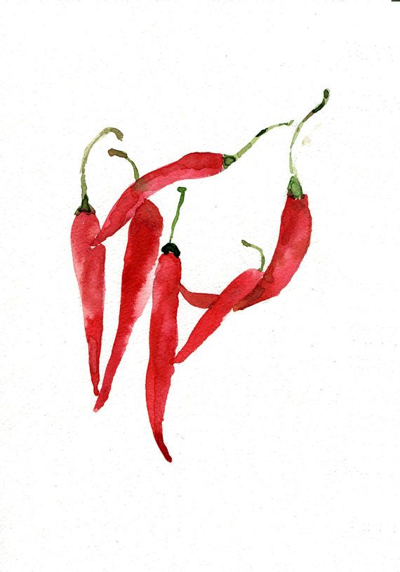 Art Print Chili Peppers Kitchen Art Watercolor Print