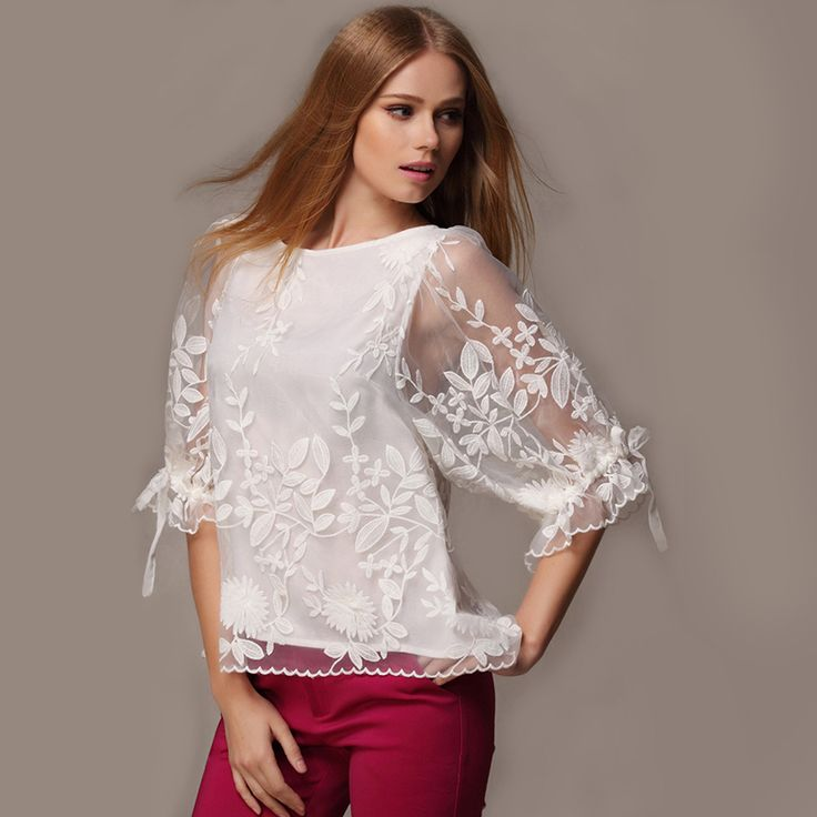 Summer Embroidered Loose Women Blouses O-Neck Lantern Sleeve Chiffon Blusas femininas Lace Shirts Tops blusa de renda Plus Sizes