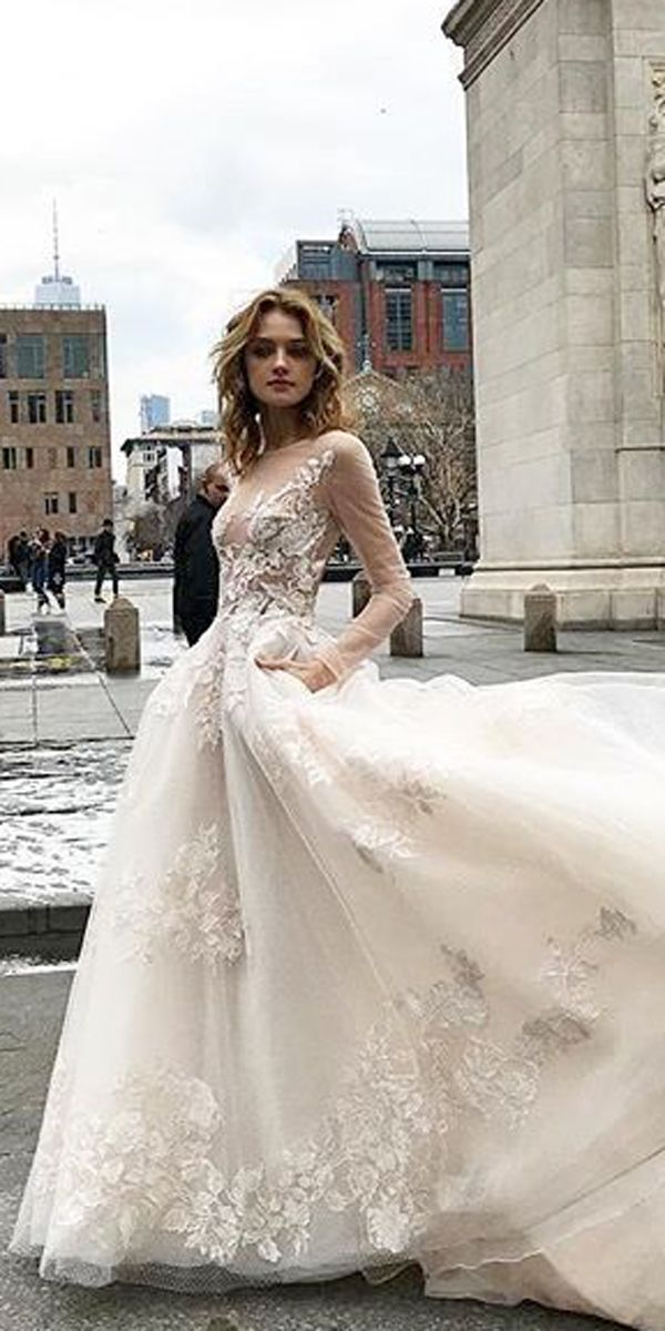 7de1c46dae5 ball gown lace nude illusion neckline long sleeve winter wedding dresses  monique lhuillier