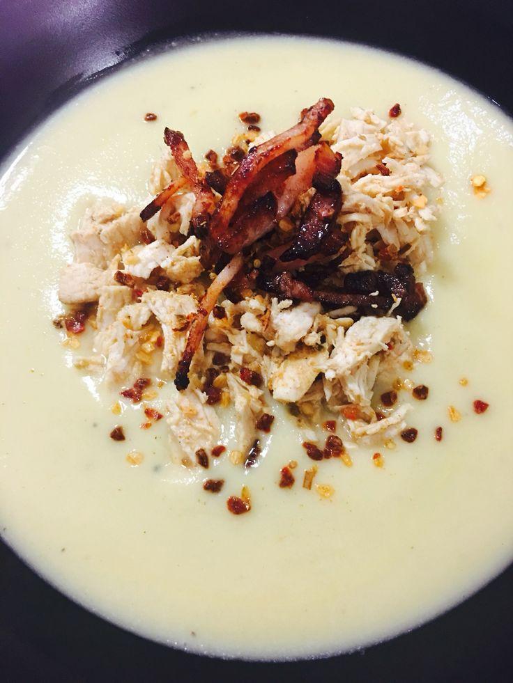 Cauliflower soup using YIAH fajita spice. #lchf #bacon www.facebook.com/becYIAH