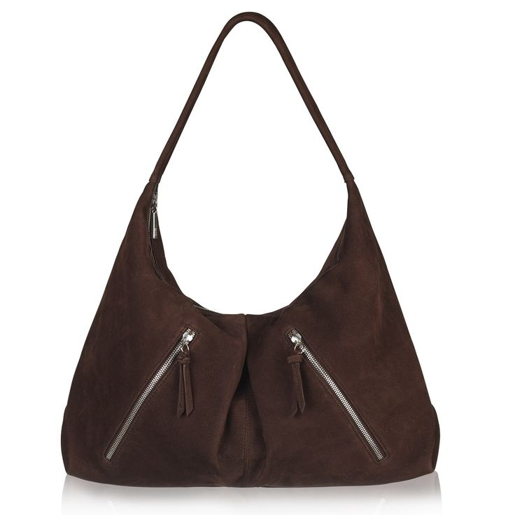 Naledi Copenhagen Nb28 2-zip hobo Chocolate Brown nubuck with silver hardware
