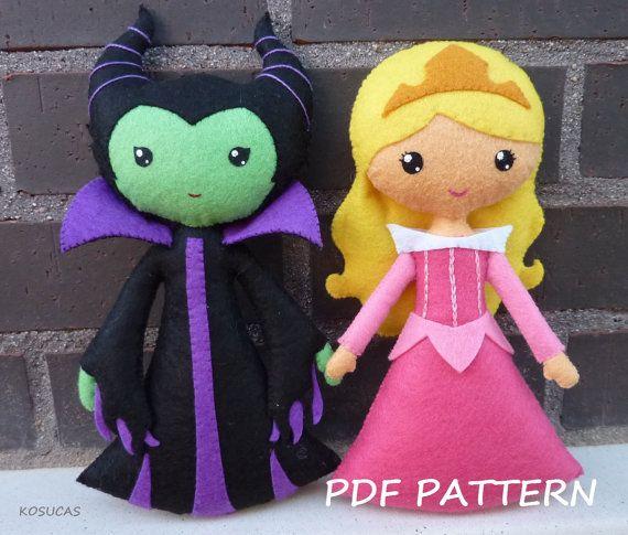 Patrón de costura PDF para hacer un muñeco de fieltro inspirado en la bella durmiente y Maléfica