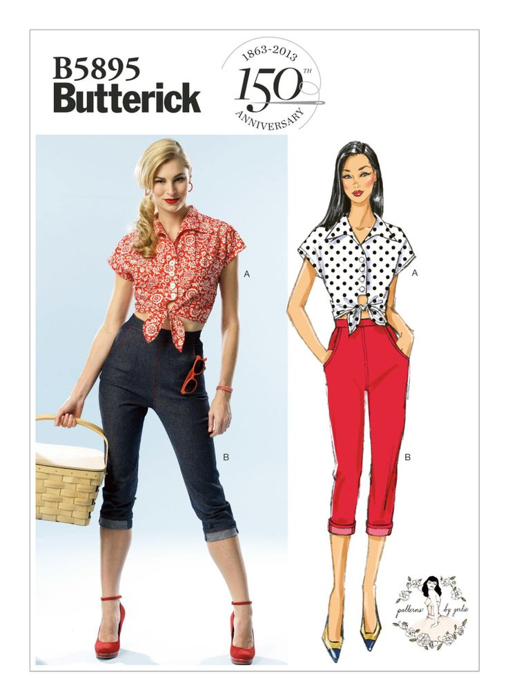OOP Misses' Vintage Style Crop Pants & Top Sewing Pattern