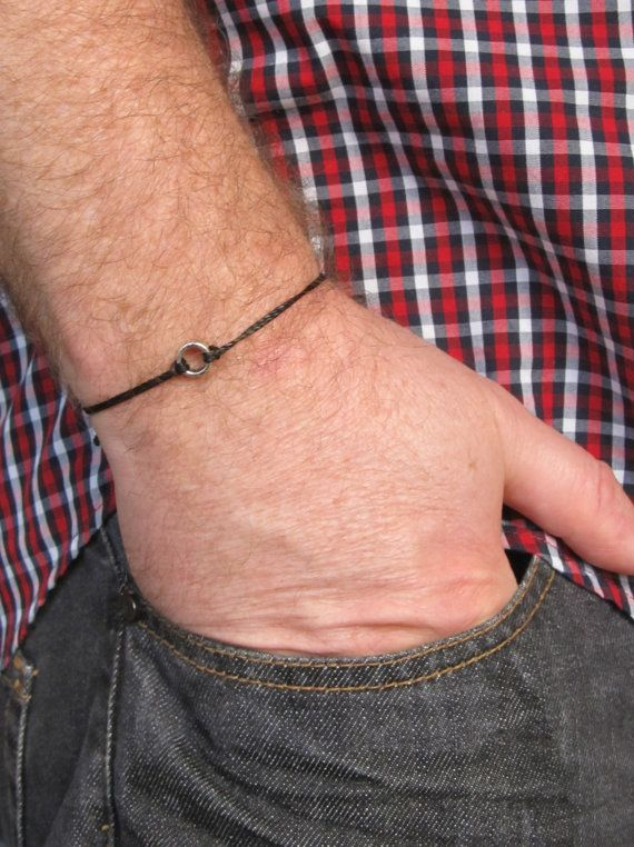 Men's Bracelet Black Brown Beige Adjustable Wax Cord by MenFolk, $10.00