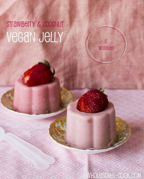 WOBBLY VEGAN JELLY ..well, here is a recipe for one that wobbles! 10 medium-sized strawberries, about 160 grams [just over 5oz] 1 cup coconut milk 1 tsp agar agar powder 3 tbsp kuzu granules (see note) 4 tbsp water oil for greasing 2 strawberries extra, for decorating