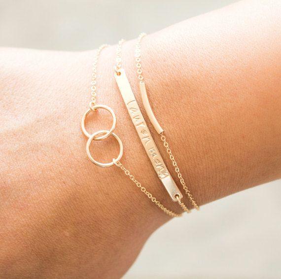 Custom Name Bar Bracelet, Personalized Name Bracelet, Initial Bracelet, Skinny Bar Sterling Silver, Gold Bracelet