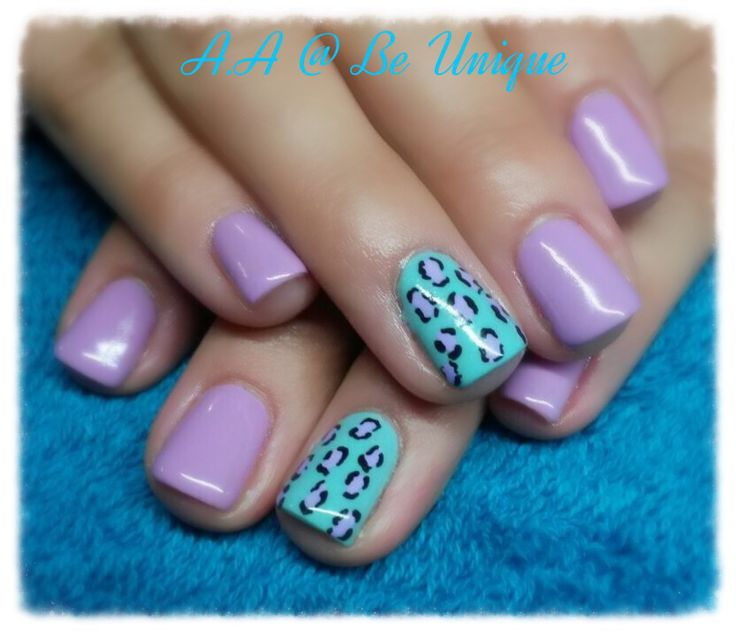 Nails done by Angelique Allegria. #purple #Turquoise #leopardPrint #Nailart #BeUnique @angiedsa
