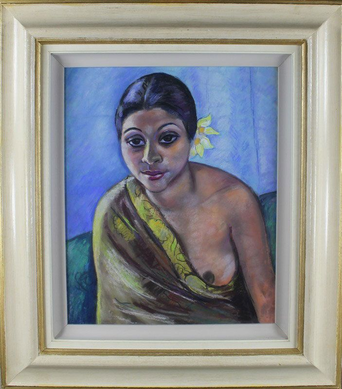 Wolfe, Edward RA 1896-1981 South African, Indian Lady. Wolfe, Edward RA 1896-1981 South African, Indian Lady. 24 x 20 ins., (61 x 51 cms.), Pastel on paper on Board. Provenance: James O'Connor from whom the vendor bought the painting.