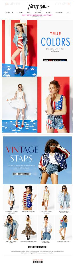 July 4th themed Nasty Gal email 21/6/2013