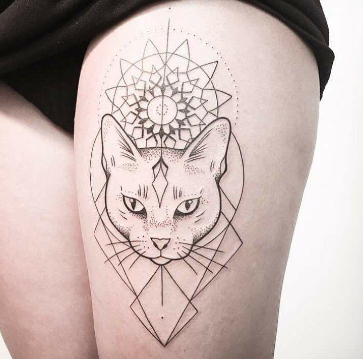 25 best ideas about geometric cat tattoo on pinterest. Black Bedroom Furniture Sets. Home Design Ideas