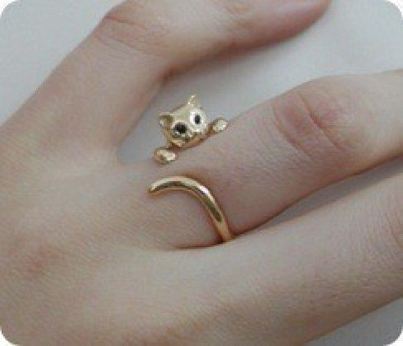 Oro Wrap Around anillo de gato.