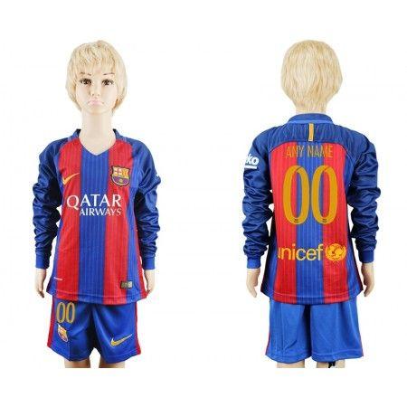 Barcelona Trøje Børn 16-17 #Enhver Navn 00 Hjemmebanetrøje Lange ærmer.222,01KR.shirtshopservice@gmail.com
