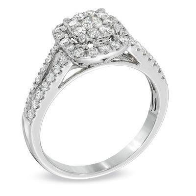 3/4 CT. T.W. Diamond Cluster Split Shank Engagement Ring in 14K White Gold - Zales